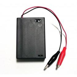 Portapilas 3xAA (R6) con cocodrilos e interruptor